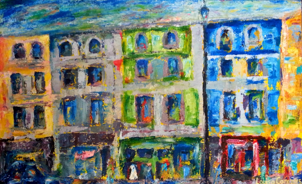 'Fulham Road' Oil and Acrylic on canvas. 50 x 80.9 cm