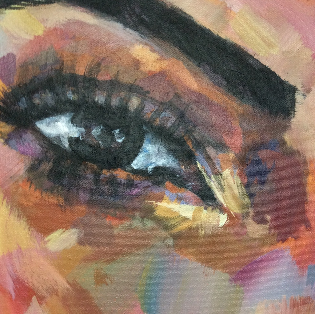 Kim Kardashian West Portrait Painting of her right eye in acrylic paint by Louisa Corr