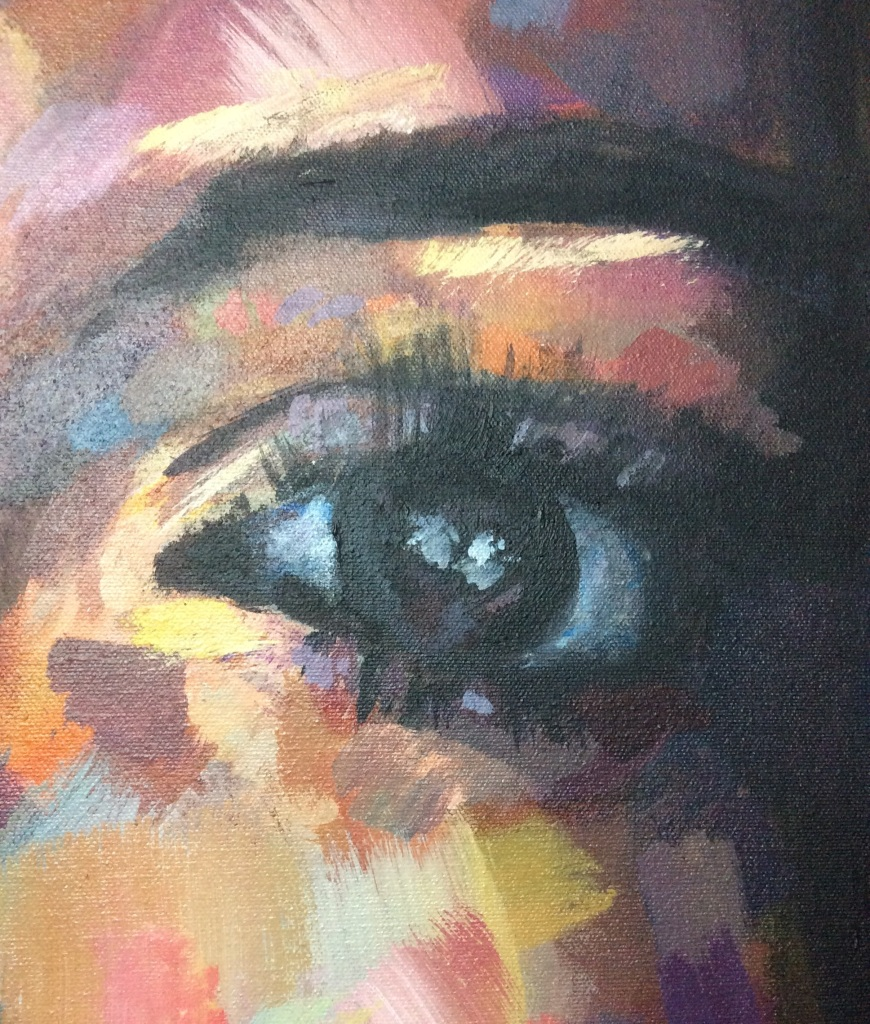 Kim Kardashian West Portrait Painting of her left eye in acrylic paint by Louisa Corr