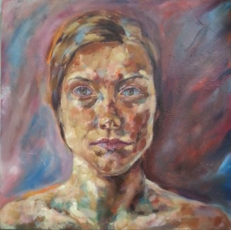 'Self-Portrait' oil on canvas 40 x 40 x 3.8 cm