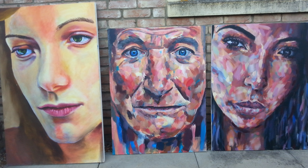 Kim Kardashian West (right) Robin Williams (centre) Louisa Corr (Left) Large Acrylic Portrait Painting