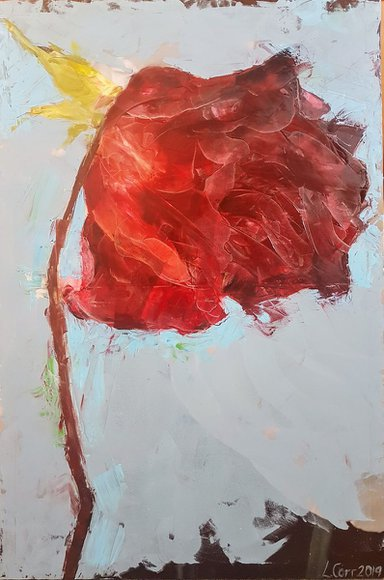 One Rose by Louisa Corr Oil Painting oil on board for sale